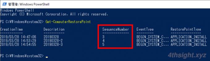 Windows10の「システムの保護(復元ポイント)」をコマンドで操作する