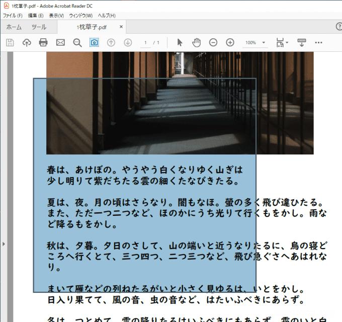 PDFファイルの特定領域のみを印刷する方法(Adobe Acrobat Reader DC)