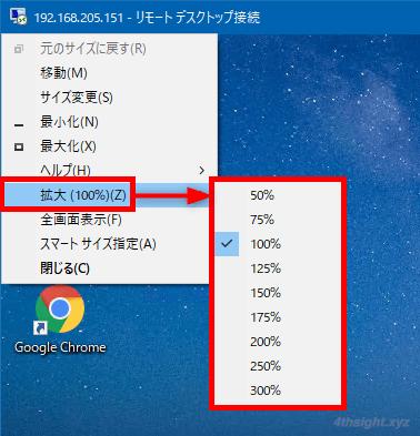 Windows10でリモートデスクトップ画面を拡大/縮小表示する方法