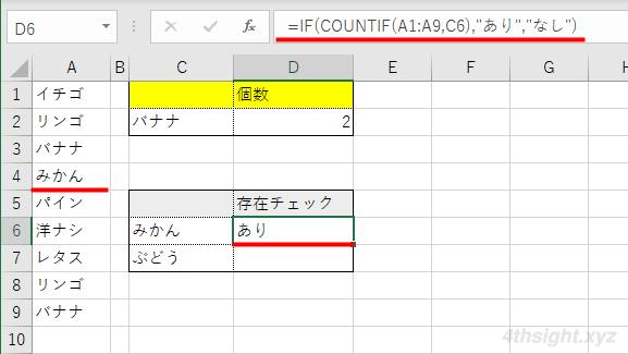 Excel(エクセル)で指定した値が範囲内に存在するかチェックする方法(COUNTIF関数)