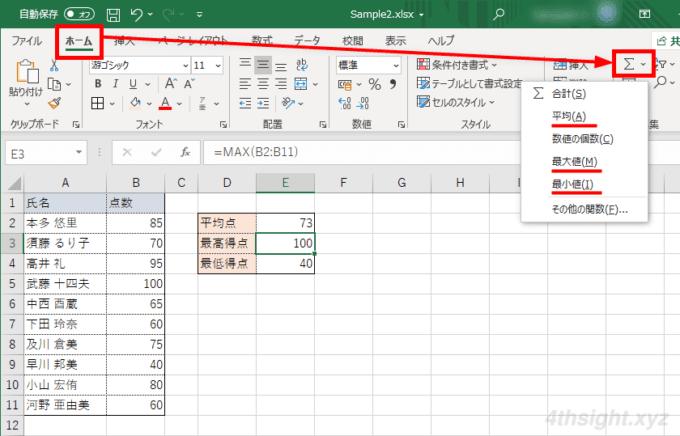 Excel(エクセル)で平均・最大・最小・平方根を計算する方法